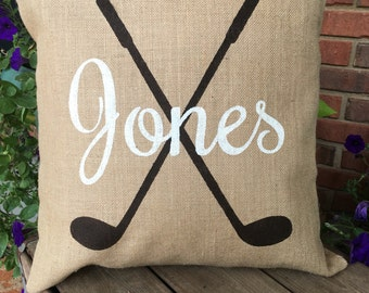 Personalized Burlap Golf Pillow