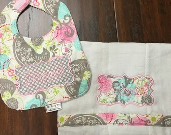 Baby Girl Pink/Teal/Gray paisley Personalized Bib and Burp cloth