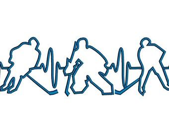 EKG Ice Hockey machine embroidery design.