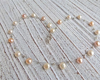Pearls Necklace #104,freshwater pearls,Ladies Necklace,Handmade Jewelry,Women, pastel pearls, Gift for her,Bridesmaid, Christmas,