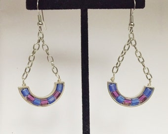 Cube Bead Earrings with Beading Wire and Curved Katiedids