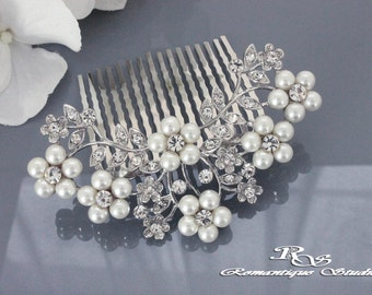 Wedding hair accessory, Pearl floral hair comb, Bridal pearl hair comb, Wedding hair comb pearl, Wedding comb pearl crystal, Comb 5197