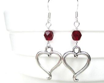 Heart earrings - Custom birthstone earrings - Valentine earrings - Birthday gift idea - Heart jewellery - January birthstone - UK