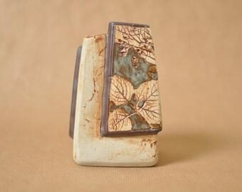 Tenmoku pottery leaf vase - brush pot - Malaysia handicraft - leaves - asymetrical
