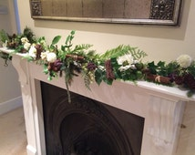 Christmas swag fire place mantle piece garland for Weddings or home decor,winter berries,pine cones, twigs,cinnamon sticks & ivory anemones