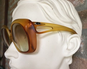 Oversize  woman sunglasses, Christian Dior Vintage 70's, pre-loved in prestine condition, glazed orange and yellow