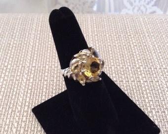 Citrine 925 Sterling Silver Flower Ring Size 6