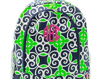 Personalized Moroccan Backpack Monogrammed Bookbag Navy Blue Green Geometric Girls Large Kids Tote School Bag Embroidered Monogram Name