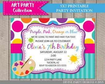 PERSONALIZED Art Party 5x7 Birthday Party Printable Invitation / Digital File / Painting / Art Party Collection / Item #2803