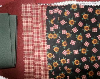 Sew it Yourself Needlecase Kit/Craft Kit/Sewing/Christmas Gift. Sunflowers and Checks