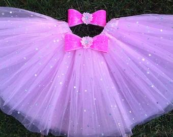 flower tutu + headband,pink tutu,Frozen tutu,christmas gift,holiday tutu,ballerina tutu,party favor tutu,flower girl tutu,birthday tutu,elsa