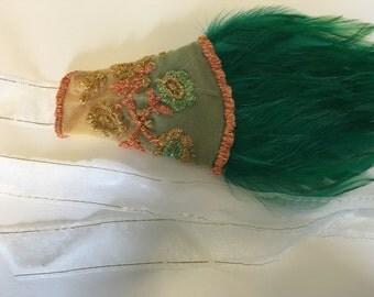 Flapper tea dress headpiece, garden wedding headband, 1920s lace dress headpiece, art nouveau accessories, Paris 1920s Belle Époque