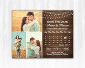Rustic Save The Date Magnet or Card DIY PRINTABLE Digital File or Print (extra) String Lights Save The Date Wood Save The Date 3 Photos