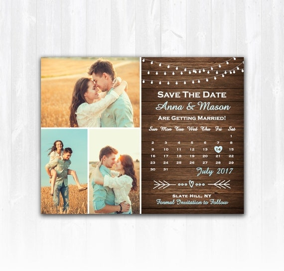 Rustic save the date magnet or card diy printable digital file for Diy save the date magnets template
