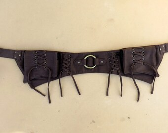 Steampunk Utility belt psytrance hippie style in brown cotton canvas - Lace Ring Model