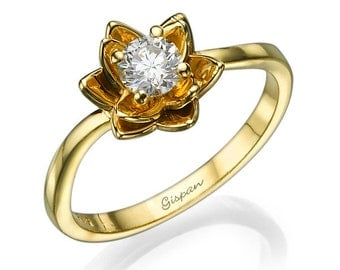 flower engagement ring yellow gold ring floral ring diamond ring wedding ring - Flower Wedding Ring
