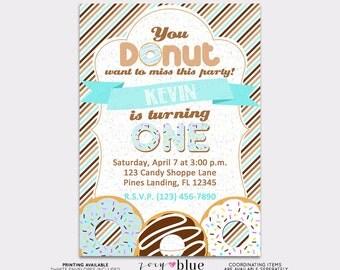 Boy Donut (Doughnut) Printable Birthday Party Invitation (Blue Brown Striped 1st First Birthday) - Digital File