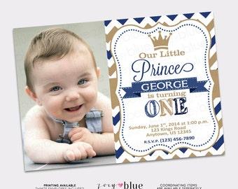 Prince Birthday Invitation Boy 1st First Birthday- Navy Blue Gold Chevron Zig Zag Stripes - Picture Printable Digital File