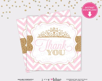 Princess Favor Tag - Pink Gold Glitter Princess Birthday Thank You Tag - Blush Gold Girl Baby Shower Favor Tags - Instant Download Digital