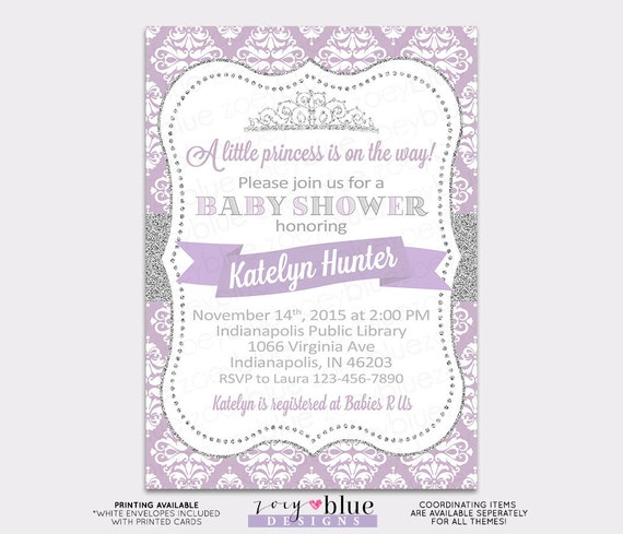 Princess baby shower invitation purple damask silver glitter little il570xn filmwisefo Choice Image