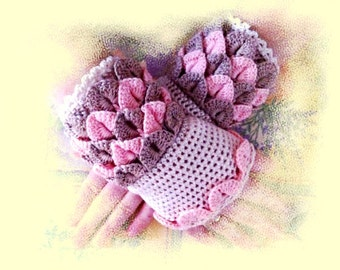 Hand warmers,Handwork,Handmade,Hand knitted,fingerless gloves, romantic,gift,original,designer,crochet,knitwear,knitted beige,pink,white
