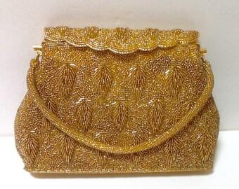 Vintage Gold Beaded Evening Bag / Top Handle / Bride / Mid Century /Wedding / Hollywood Regency / Evening Wear / Retro / High Fashion