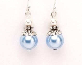 Blue Earrings, Women Jewelry, Light Earrings, Sterling Silver Earwires