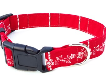 Dog Collar - Red and White vintage floral