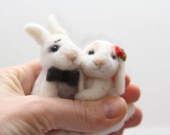 Love gift Bunnies love couple, soft Bunny toy, Wool rabbits married couple,  Wedding love gift needle felted figurines