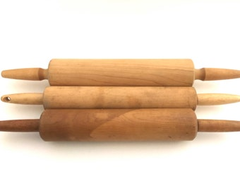 Vintage Rolling Pins Collection Set of 3 Foley Bakers Tools Chefs Utensils Home Decor Rustic Farmhouse Kitchen Decoration