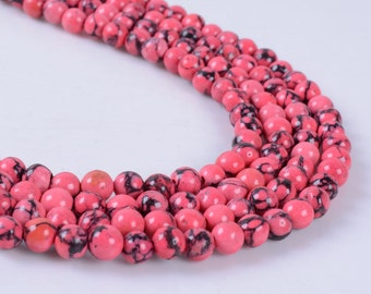 """4MM362 4mm Synthetic Red turquoise round ball loose gemstone beads 16"""""""