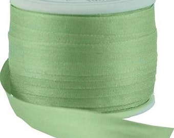 11 Yds (10 M) Embroidery Silk Ribbon 100% Silk 7mm - Nile Green - By Threadart