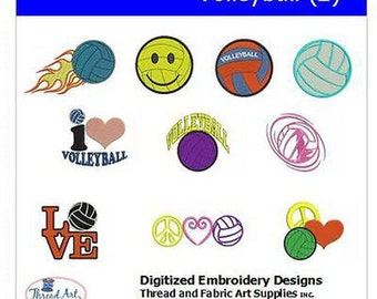 Embroidery Design CD - Volleyball(2) - 13 Designs - 9 Formats - Threadart