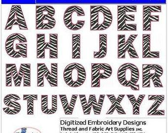 Embroidery Design CD - Zebra Alphabet Caps - 26 Designs - 9 Formats - Threadart