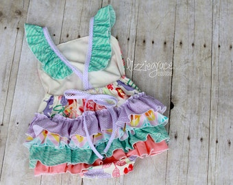 Ruffle Romper, Ruffle Playsuit, Beach Outfit, Beach Pictures, Ruffle Bottom Romper, Flutter Romper, Monogrammed Sunsuit, 1st Birthday Outfit