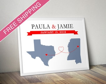 Long Distance Relationship Personalized Maps Print