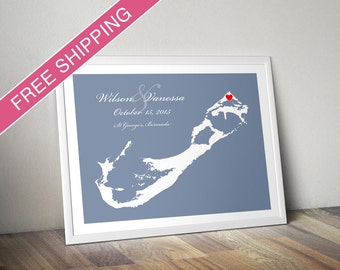 Personalized Bermuda Wedding Guest Book Poster - Custom Location and Map Print - Wedding Gift, Housewarming Gift