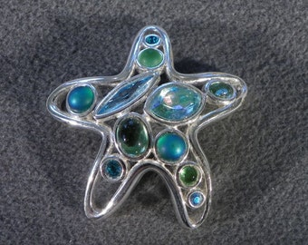 Vintage Aqua and Light Green Rhinestone Pin Brooch    **RL