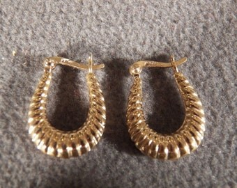 Vintage Sterling Silver with Gold Overlay Hoop Earrings Jewelry **RL