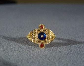 Vintage 21 K Yellow Gold Fancy Multi Enamel Bold Ring, Size 6 3/4   **RL