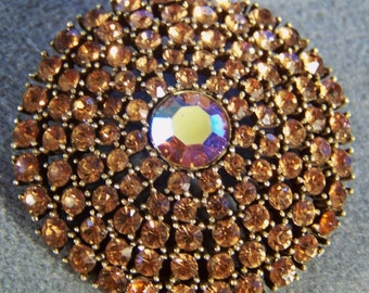 Vintage Yellow Gold Tone Shades of Ambers big round Multi Rhinestone pin brooch Jewelry **RL
