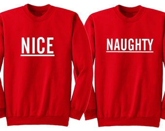 Nice and Naughty Couple Sweater, Sibling Christmas Sweater, Matching Best Friend Christmas Sweater, Bff Christmas Sweater, Twin Ugly Sweater