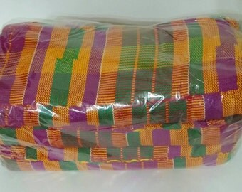 3-Pack Authentic African Kente Cloth, Made in Ghana, Purple Green Gold