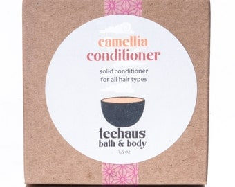 Conditioner Bar: Camellia Conditioner with Shea Butter and Green Tea. Natural Conditioner for All Hair Types. Chemical-free hair care.