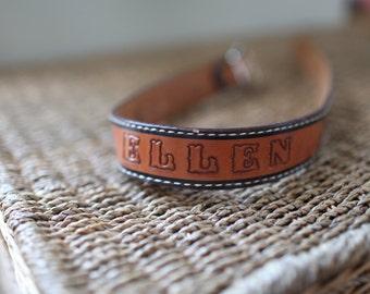 vintage ELLEN tooled brown leather belt & buckle 26 28