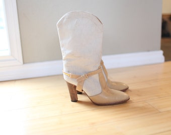 vintage tall cream & tan  gold leather riding boots womens 7 *