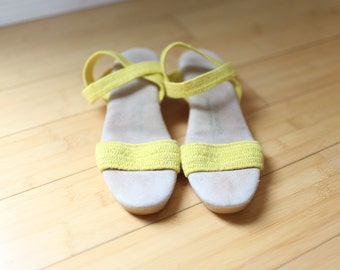 vintage yellow canvas wedge sandals womens 8