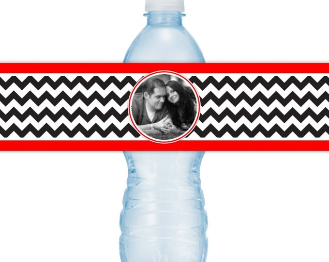 Wedding Photo Water Bottle Labels - CUSTOM Printable Chevron Water Bottle Labels, YOU print, you cut, DIY water bottle labels