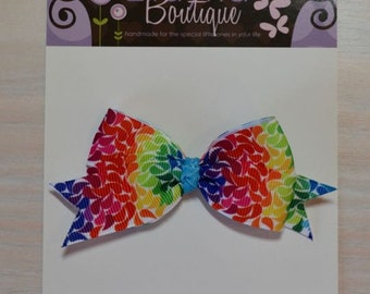 Boutique Style Hair Bow - Bright Color Splash, Rainbow