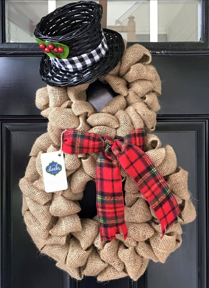 Holiday snowman burlap wreath for Snowman made out of burlap
